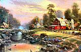 Thomas Kinkade Sunset at Riverbend Farm painting